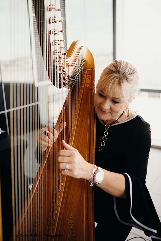 Harpist performs at wedding at Intercontinental MSP Airport Hotel