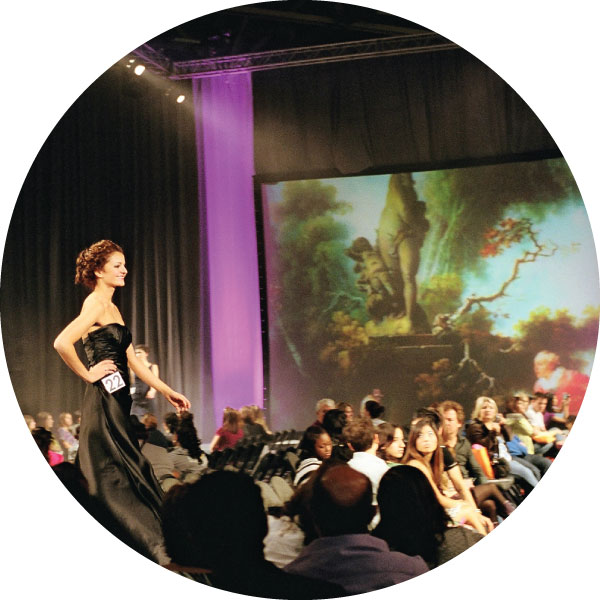 Model walks bridal fashion show