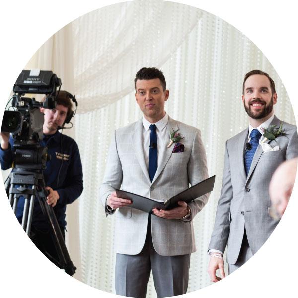 Wedding officiant performs wedding ceremony