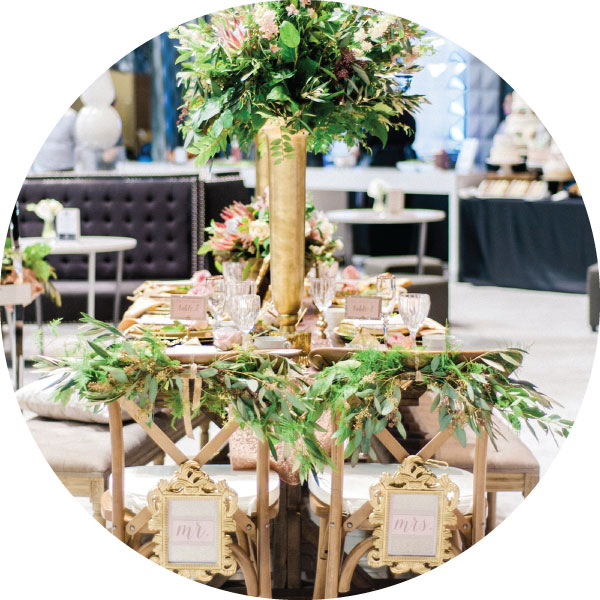 Gold and green wedding reception table