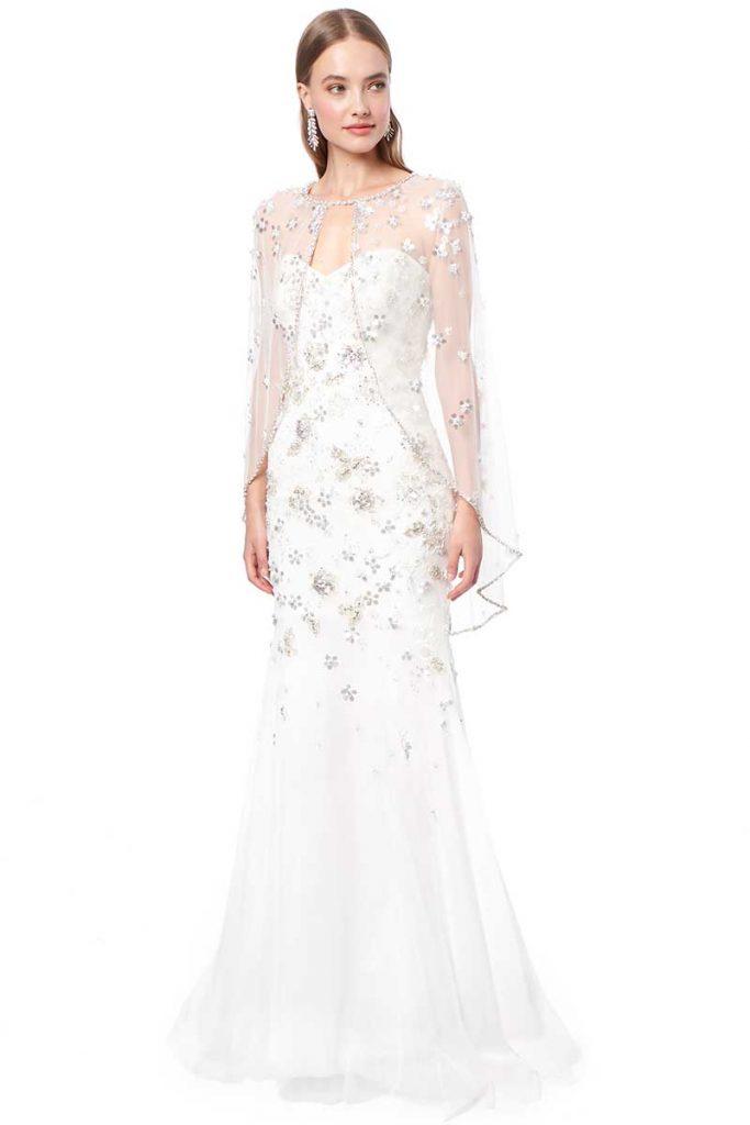 Fingertip length bridal cape