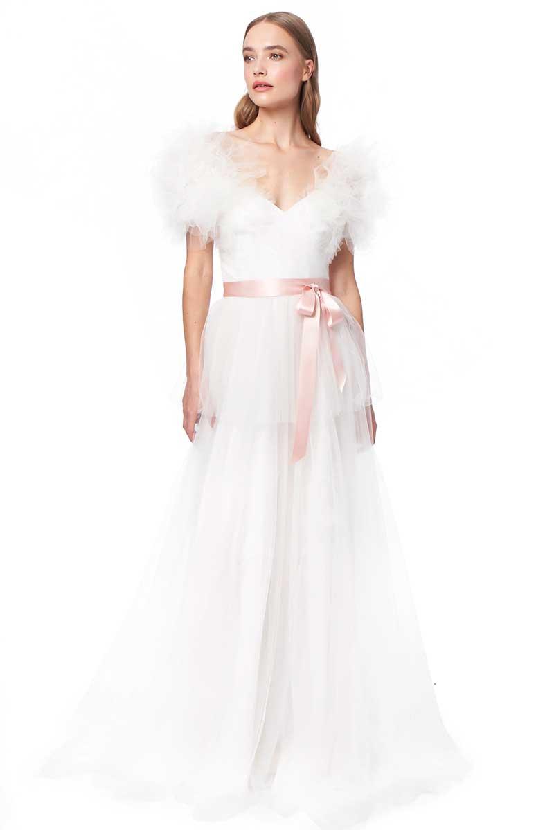 Ruffled sleeve flowy gown