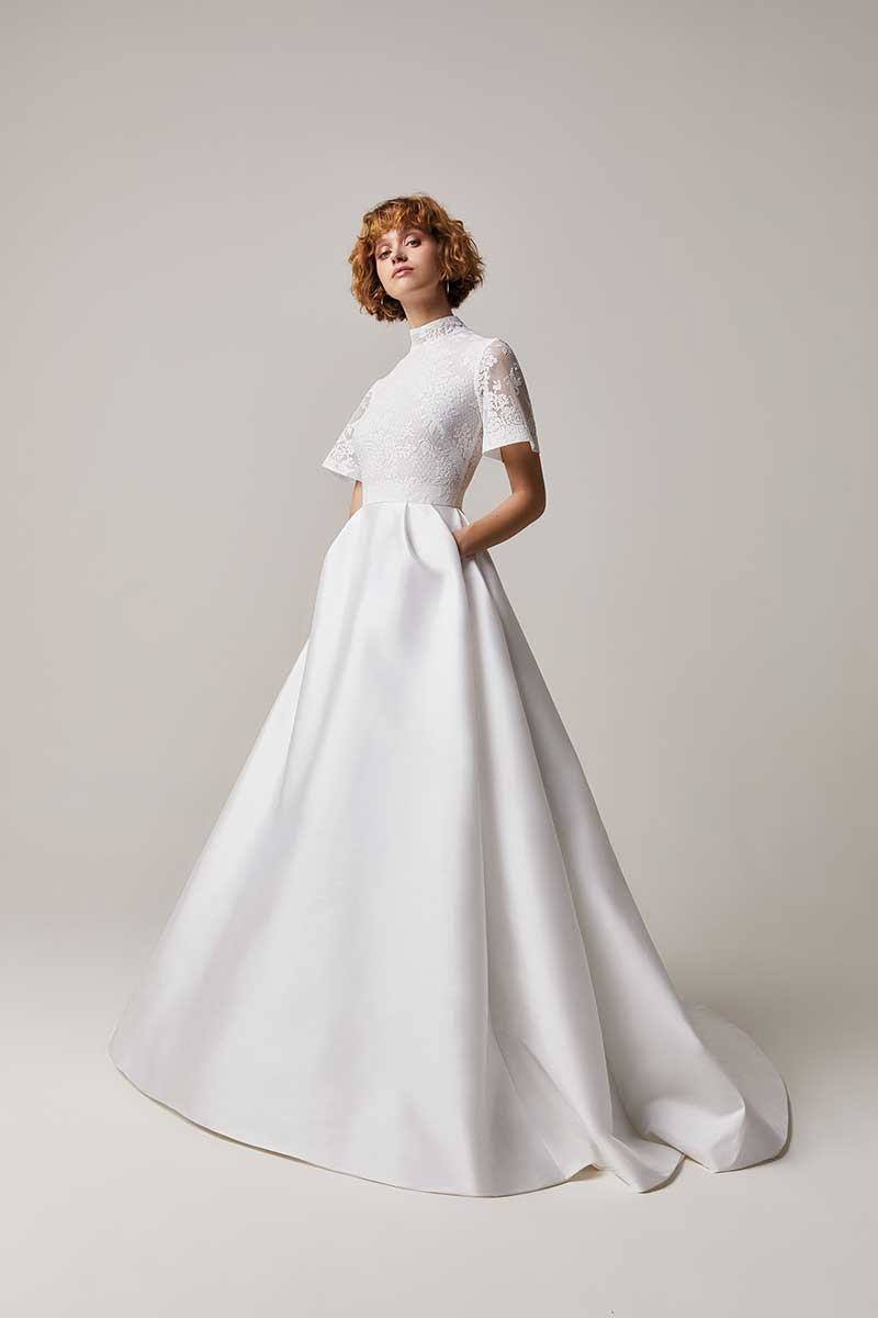 Bridal gown with floral mesh top and pockets