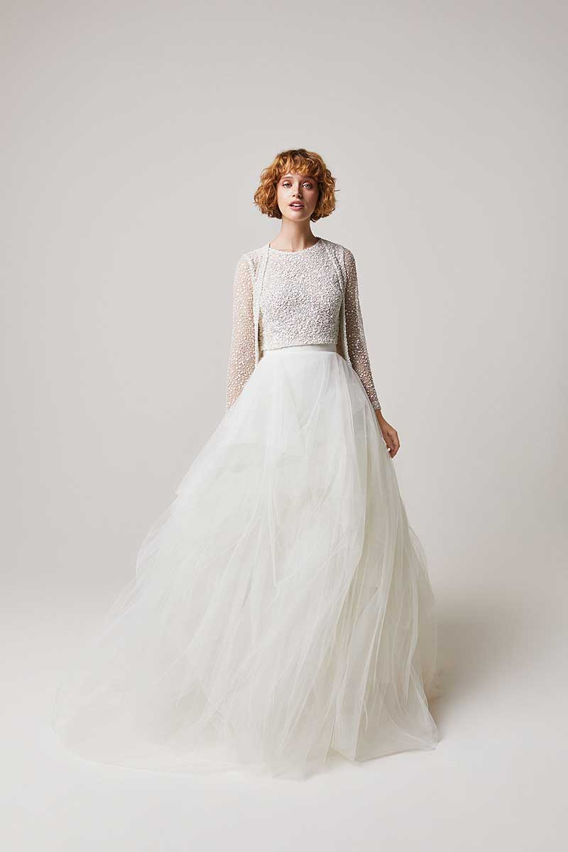 Bridal fashion gown with beaded top and tulle skirt