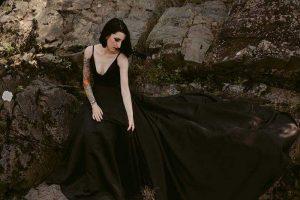 Bride in black wedding gown