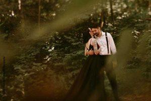 Dark wedding in forest