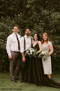 Small black and white dark wedding party