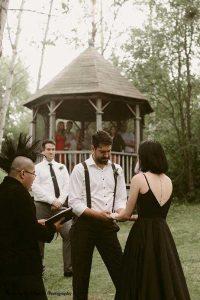 Small outdoor dark wedding
