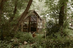 Shed at outdoor wedding