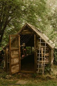 Rustic shed at wedding