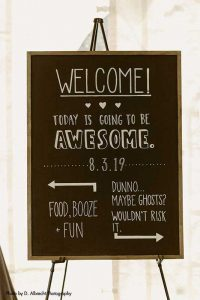 Fun and unique wedding welcome sign