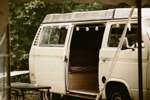 Vintage white van at wedding