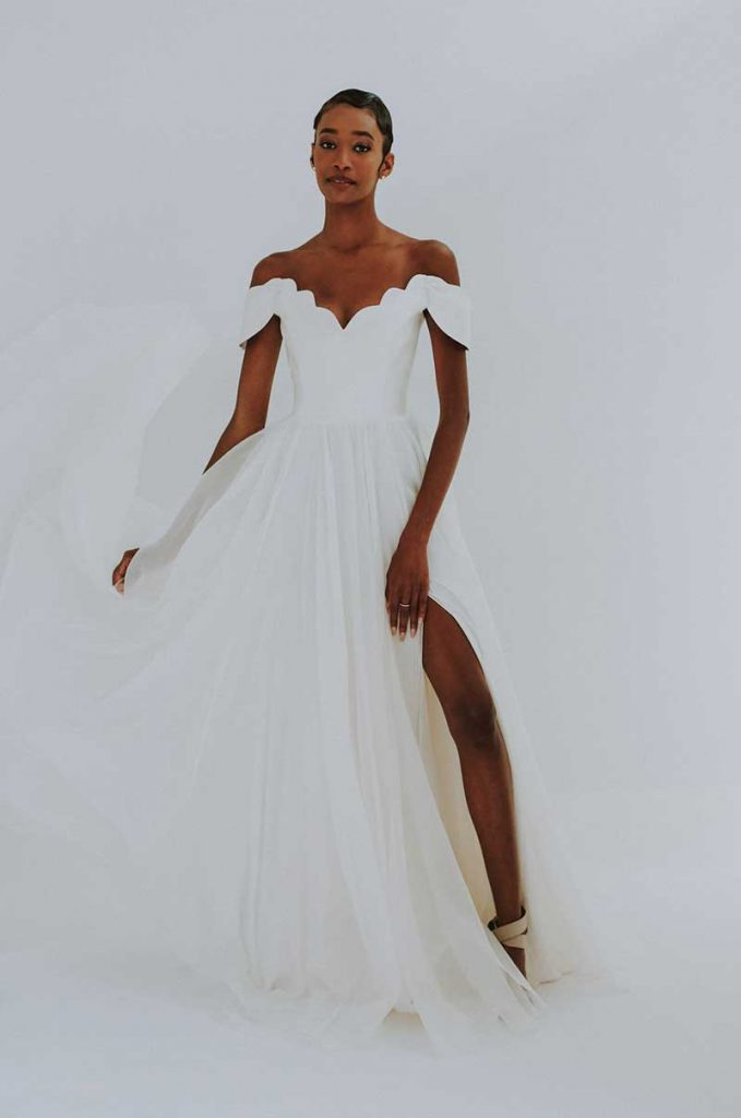 Off the shoulder 2021 bridal wedding trends gown by Leanne Marshal
