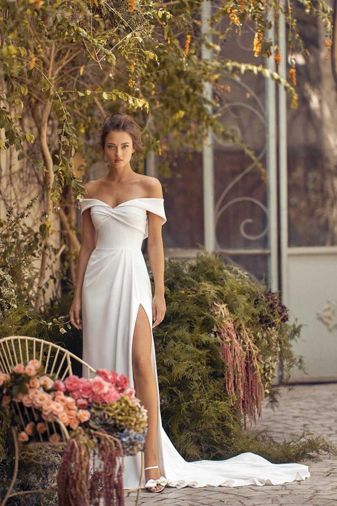 Off the shoulder front slit dress by Lihi Hod