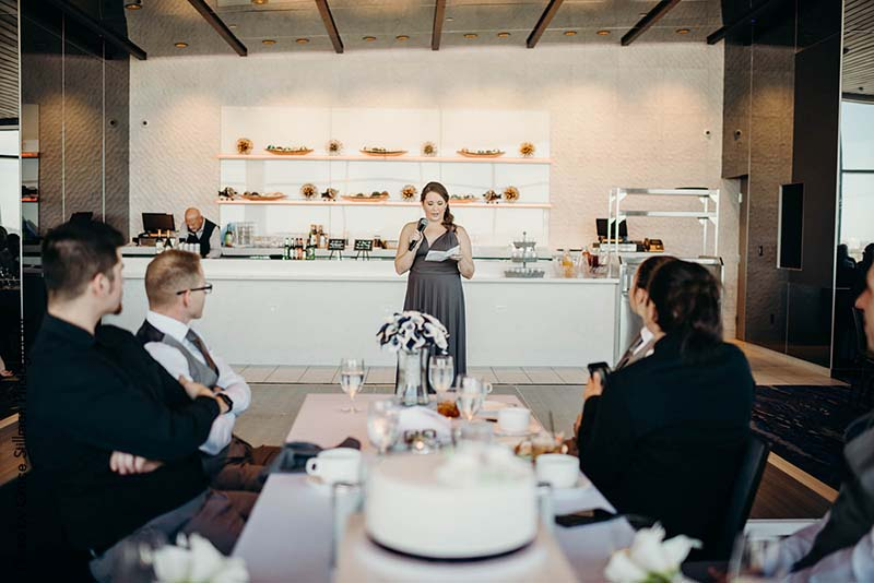 Maid of Honor gives speech at Intercontinental Airport Hotel MSP