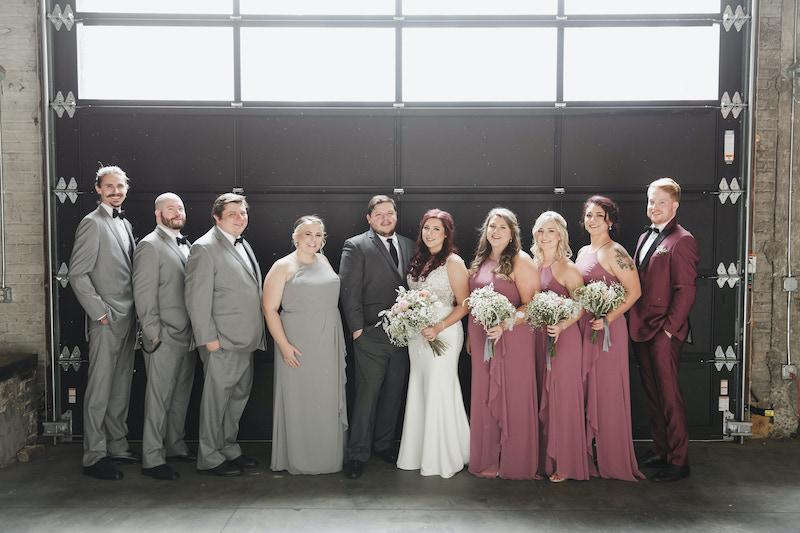 Mixed gender bridal party at Minneapolis venue