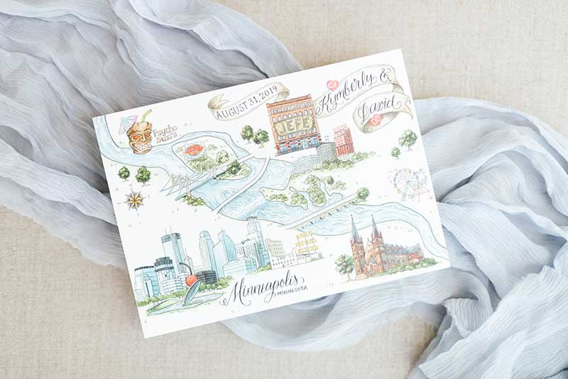 Minneapolis map stationery by Epitome Papers