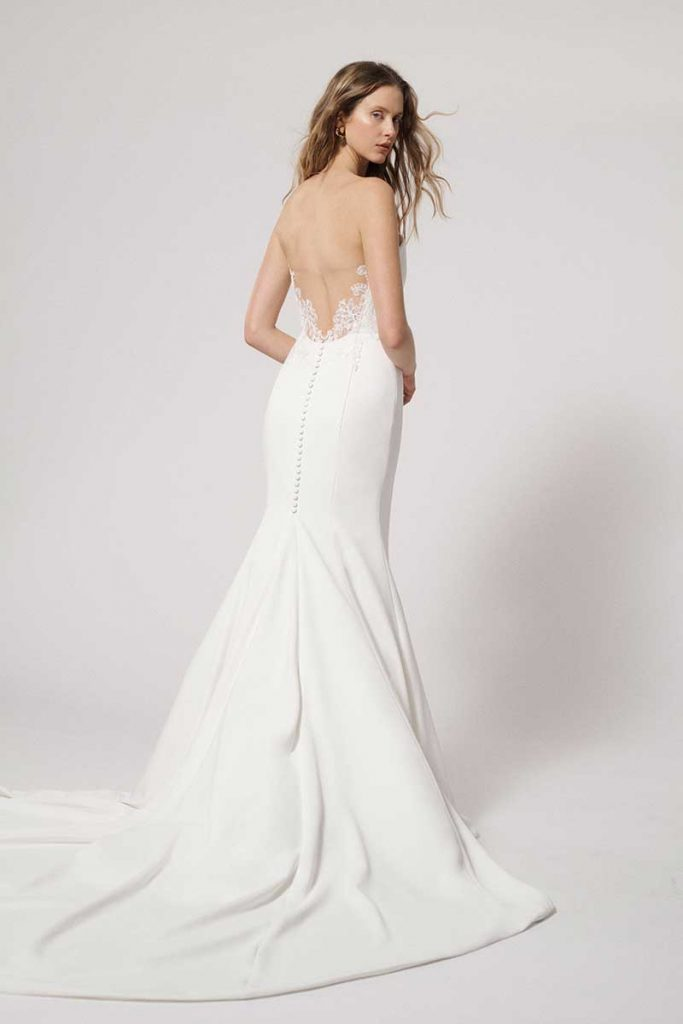 Bridal gown with subtle lace back