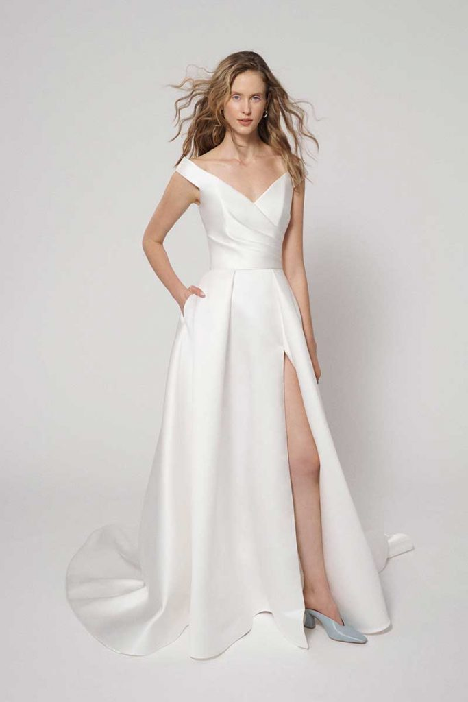 A-line off the shoulder 2021 bridal fashion trends dress