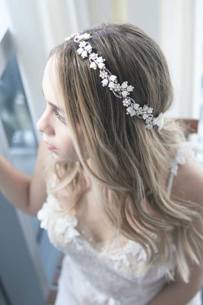Floral headband bridal accessories