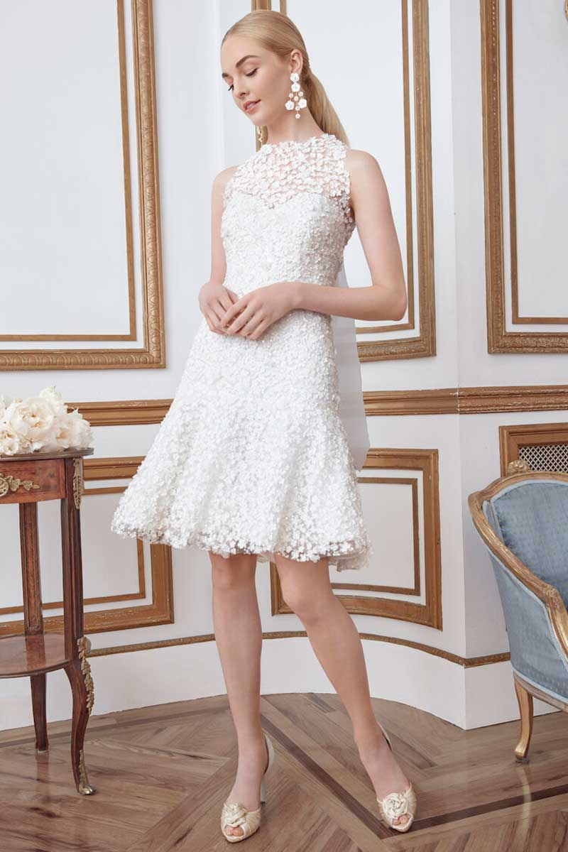 Short wedding dress with lace high neck