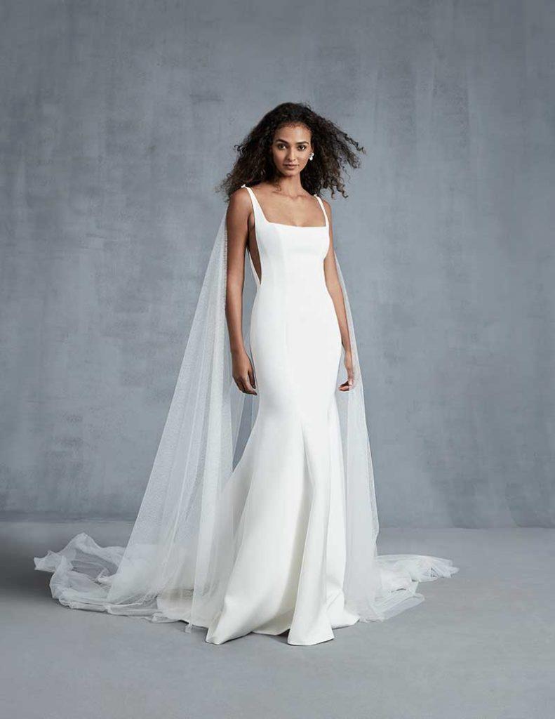 Square neck minimalist bridal gown