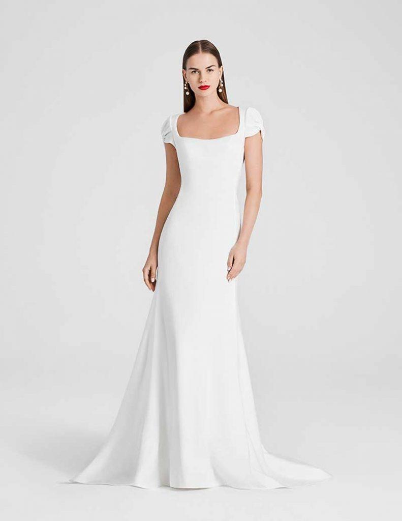 Square neck cap sleeve minimalist gown