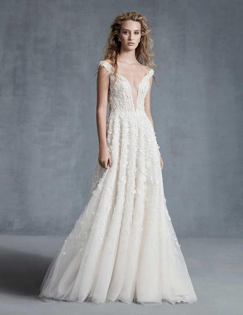 Deep v low cut floral bridal gown