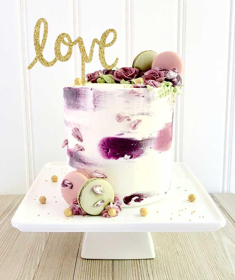 Purple macaron wedding cake by Sweet Lulu's