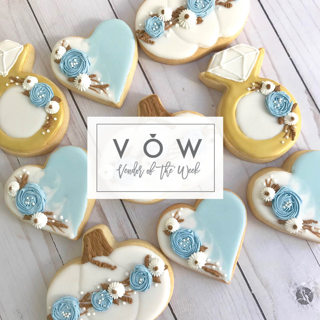 Blue and gold fall wedding cookies by Sweet Lulu's