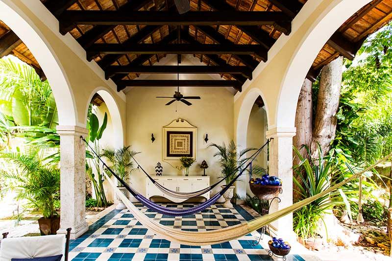 Hammocks hang at the Casa Lecanda in Yucatan