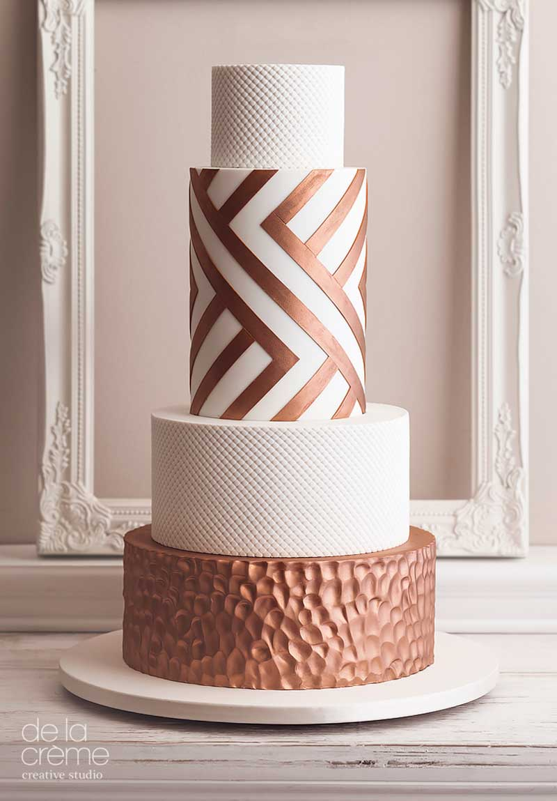Bronze and white geometric wedding cake by De La Creme must-have desserts for fall weddings