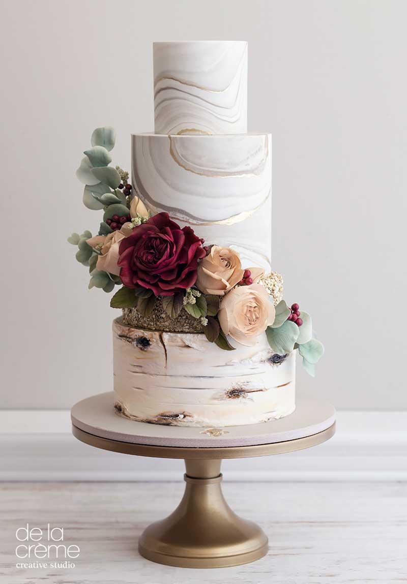 Marble birch fall wedding cake by De La Creme