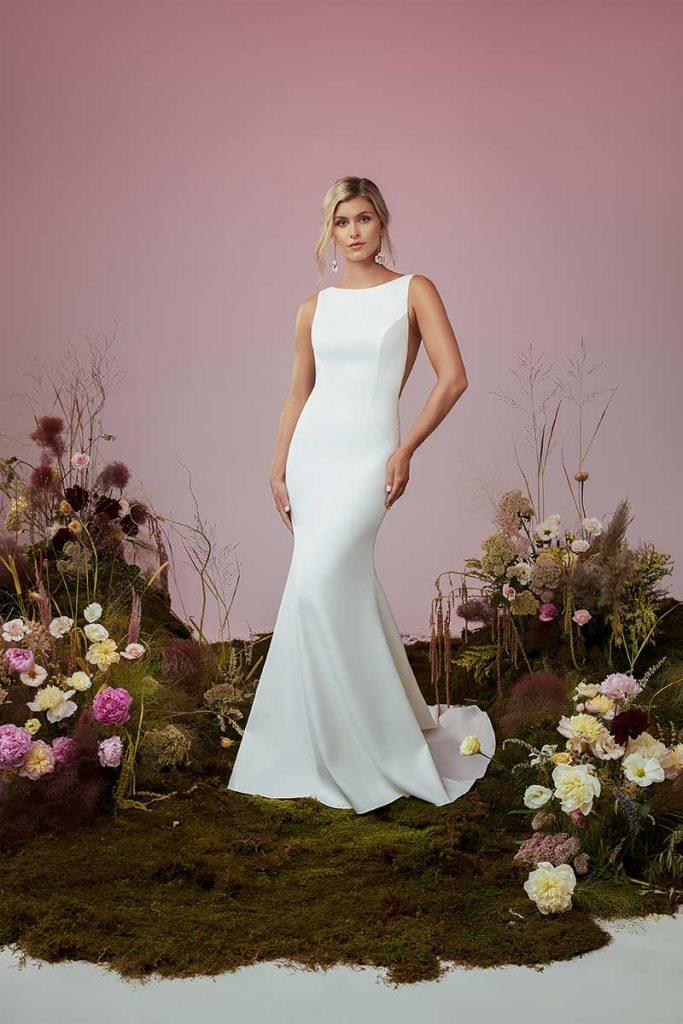 High neck minimalist gown