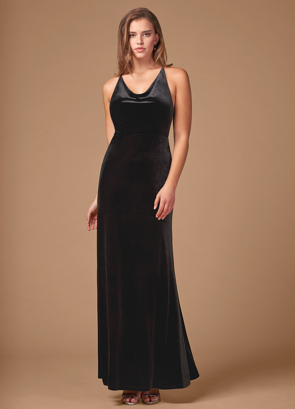 Long v-neck black velvet bridesmaid dress