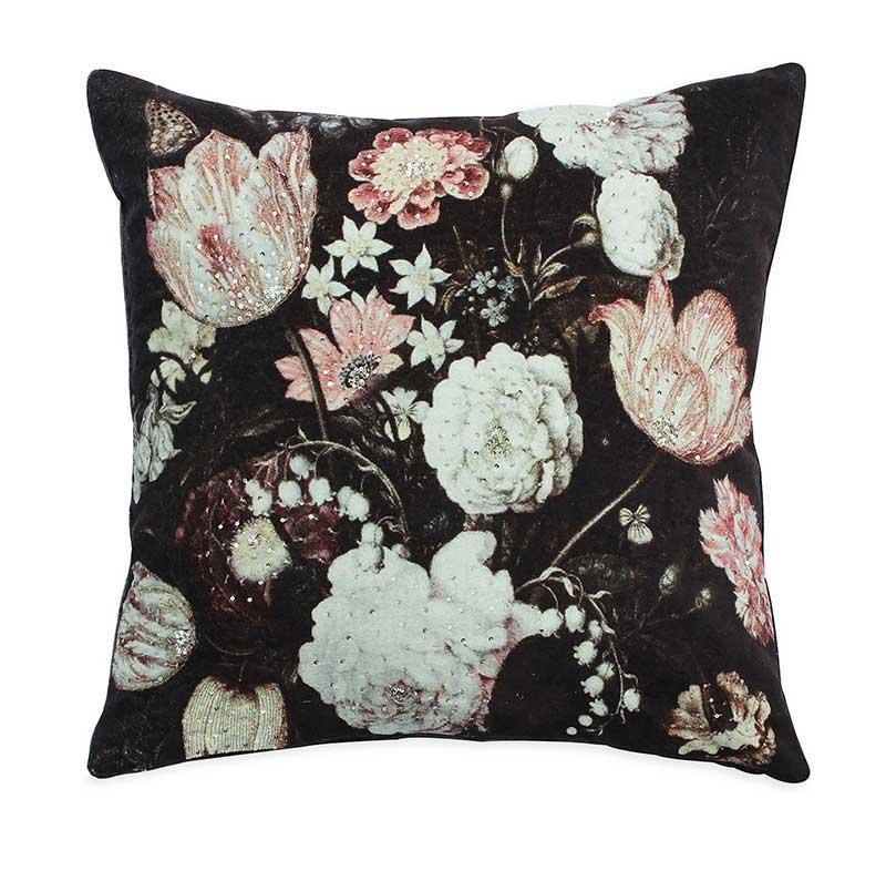Black and white floral velvet decor pillow