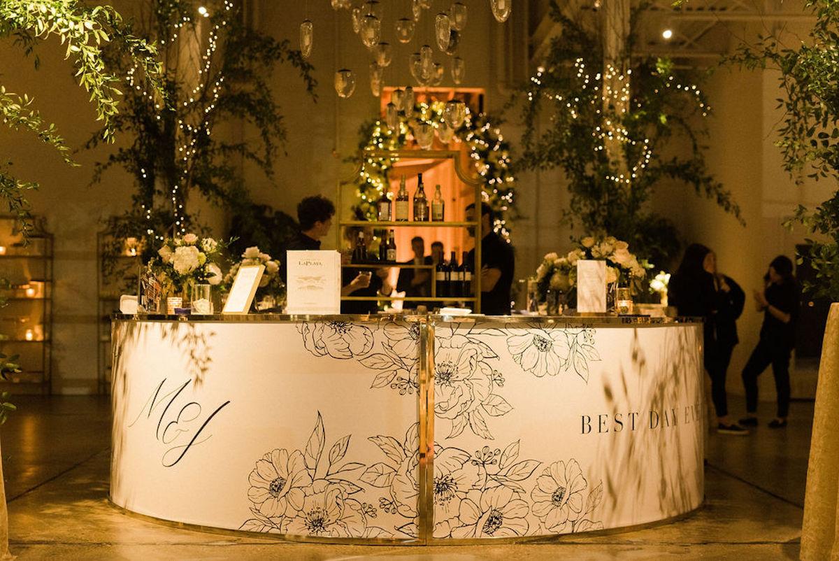 Custom acrylic wedding bar with monogram and quote