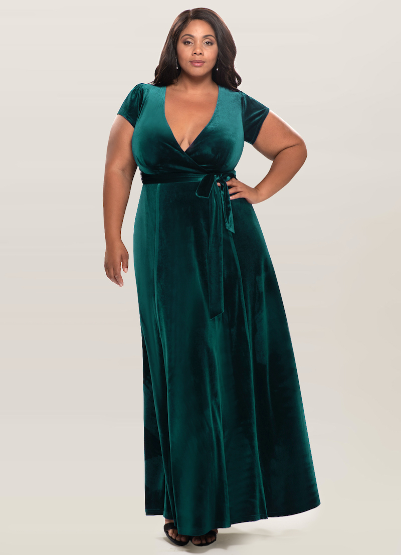Dark green plus-size velvet bridesmaid dress