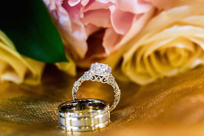 Radiant intricate engagement ring with