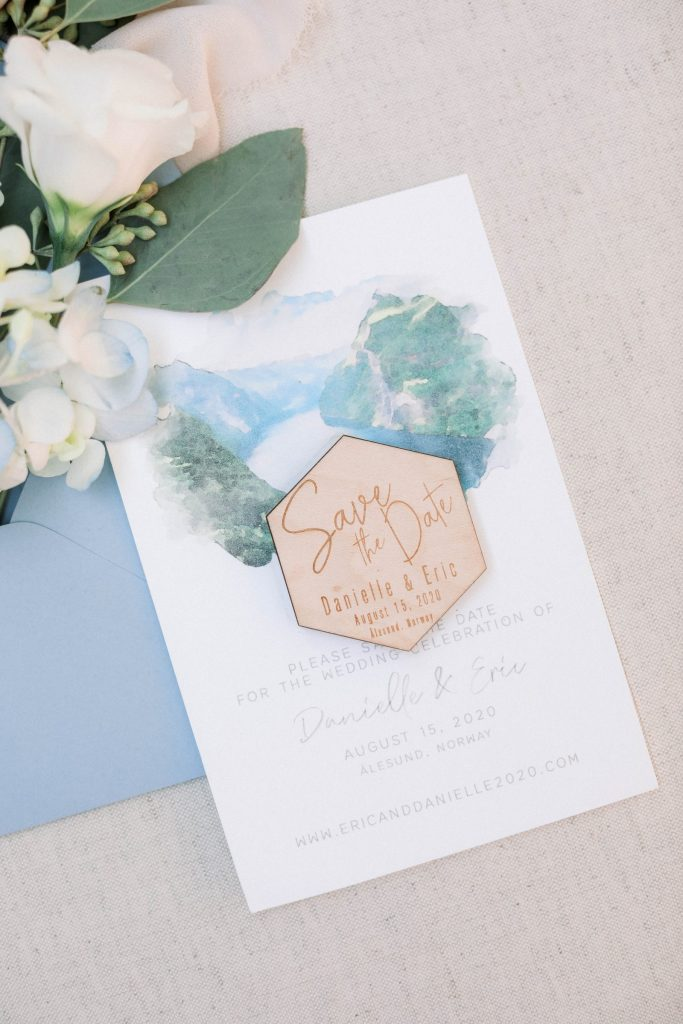 Lake inspired save the date for intimate wedding