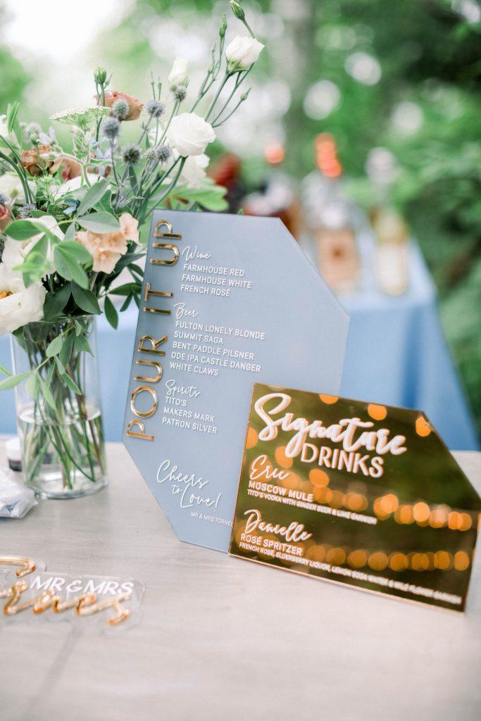 Custom bar menu sign for intimate wedding