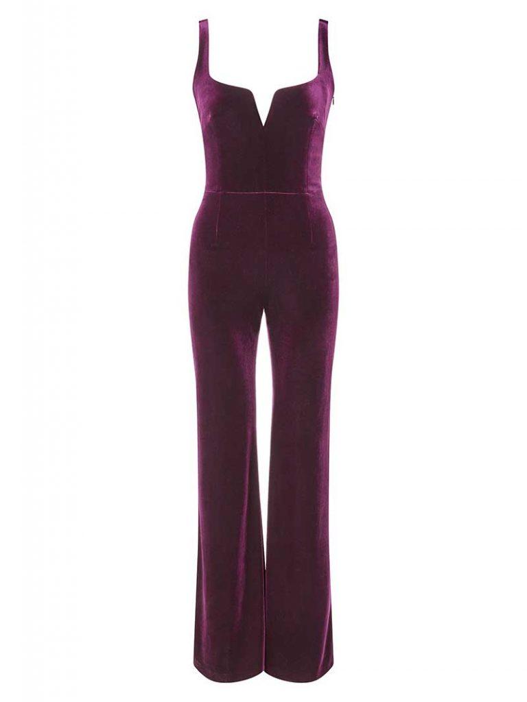 Purple velvet jumpsuit