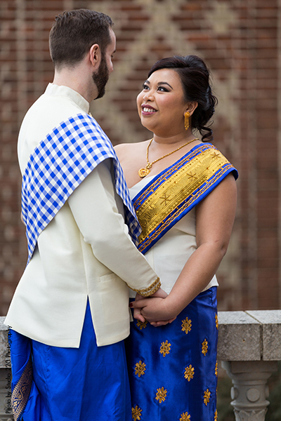 Bride incorporate culture into weddings by wearing a traditional garment