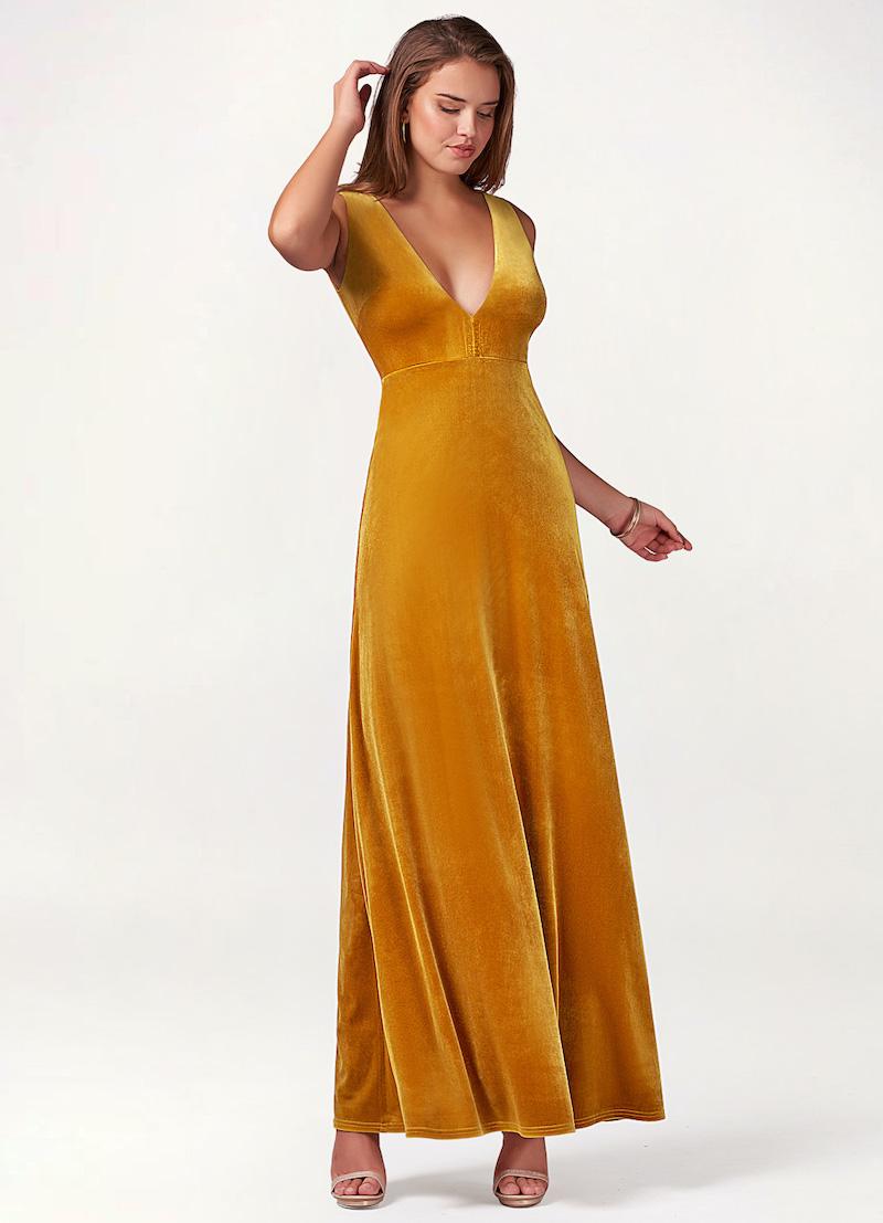 Floor-length marigold bridesmaid dress
