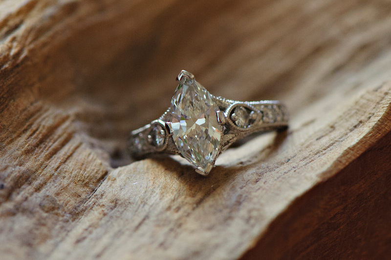 Marquise white gold engagement ring