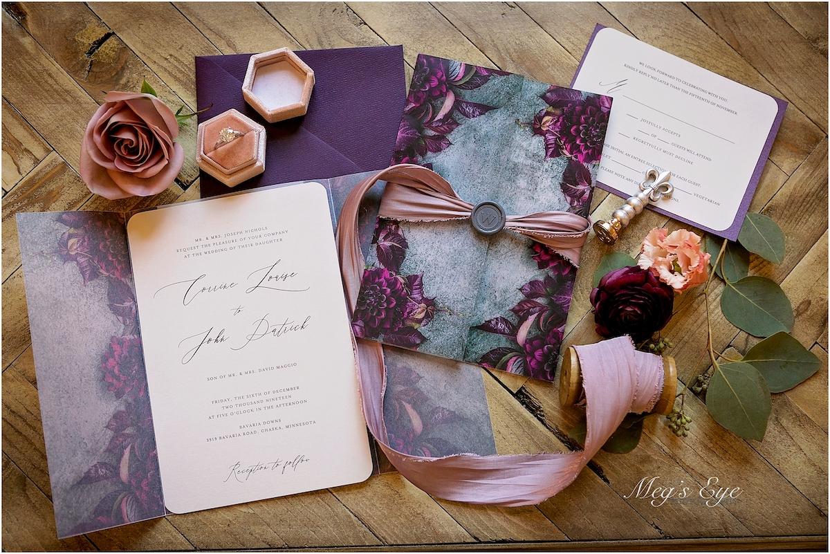 Moody wedding paper suite by Ivory Isle Designs