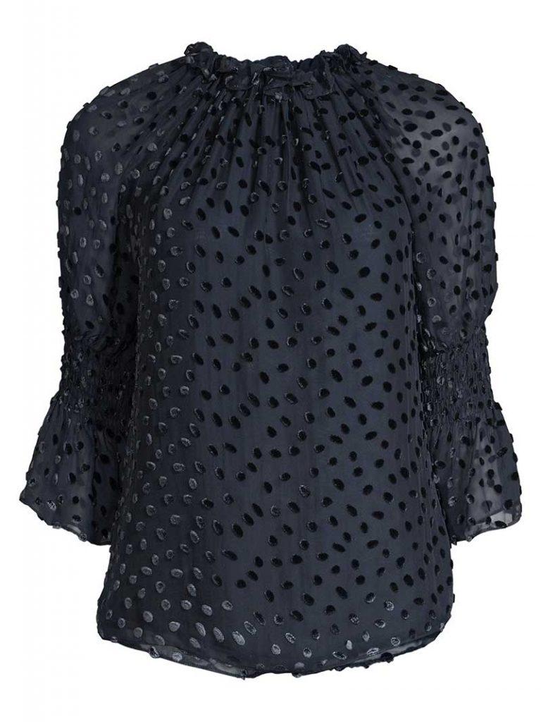Black velvet dotted blouse