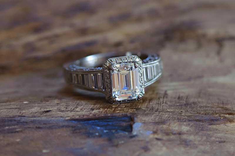 Emerald cut engagement ring shape by Tacori