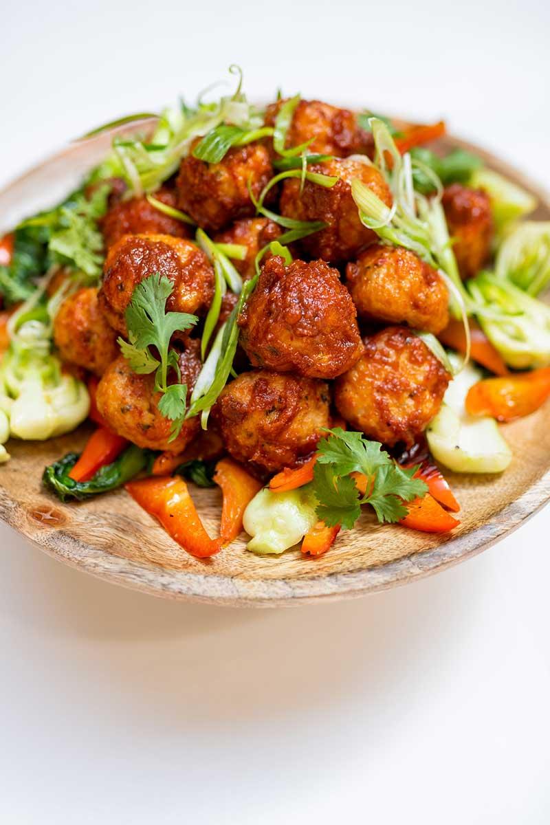 Thai chicken meatball bowl as wedding dish