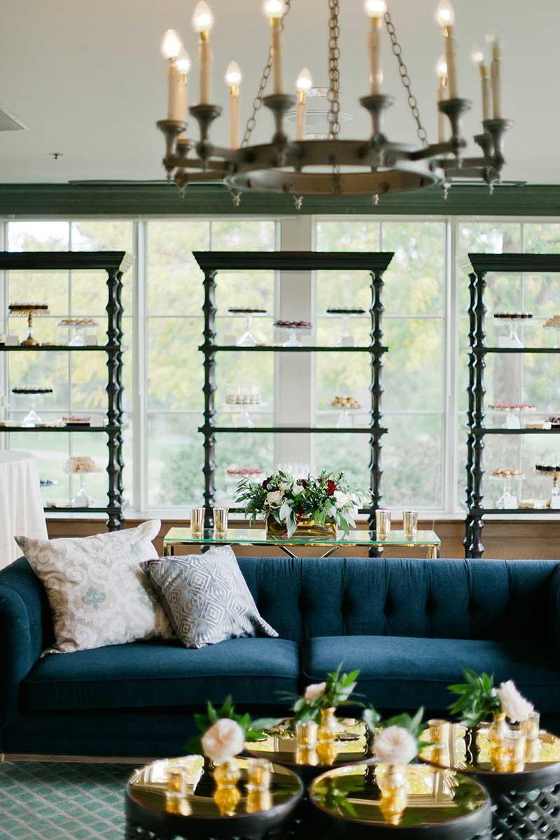 Velvet decor blue couch at wedding